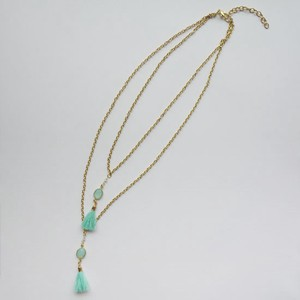 Tassel Necklace Green Chain Glass Lucky Bag