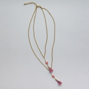 Tassel Necklace Pink Chain Glass Lucky Bag