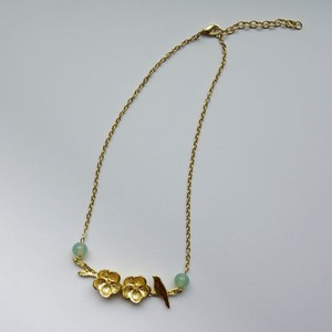 Real Flower Necklace Gold Chain Glass Lucky Bag