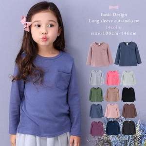 Pocket Puffy Basic Long Sleeve Cut And Sewn 14 Colors Girls