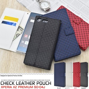 Smartphone Case Xperia XZ Premium Checkered Pattern Design Stand Case Pouch