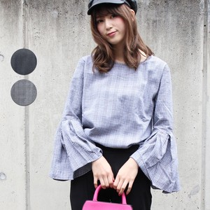 Flare Checkered Top Pullover Long Sleeve Wide Change