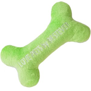Love Pets Bone Toy Lime Green M / Bone Shaped Stuffed Toy for Pets! / Sqeaks and Crinkles!