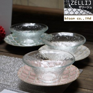 Jelly Glass Set Saucer Pink Glass Mino Ware