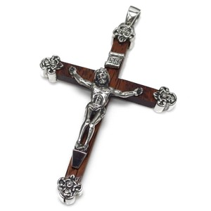 Silver 925 Christ Silver Pendant Cross Natural Wood Wood Closs Pendant