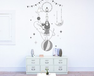 Print Type Large Format Wall Sticker Animal Circus Mono Tone Animal Kids