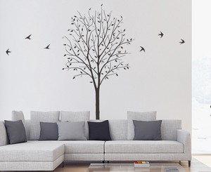 Print Large Format Wall Sticker Swallow Mono Tone Plant