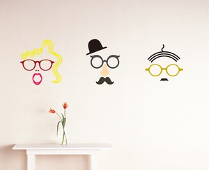 Print Type Large Format Wall Sticker Eyeglass Basic Glasses Design