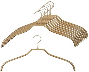 Ladies Clothes Hanger Set of 10 Gold