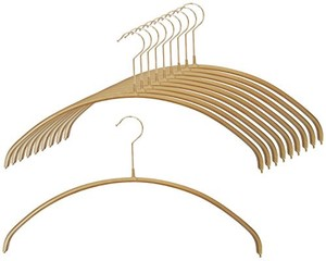 Clothes Hanger Set of 10 Gold