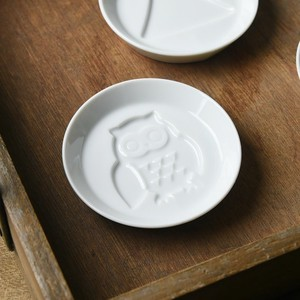 Play White Porcelains Soy Sauce Plate Owl MINO Ware