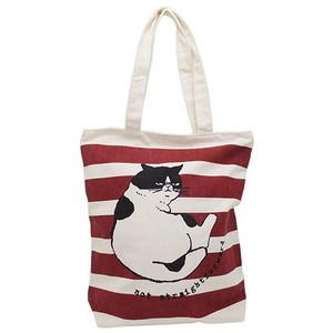 cat Canvas Tote Red Border