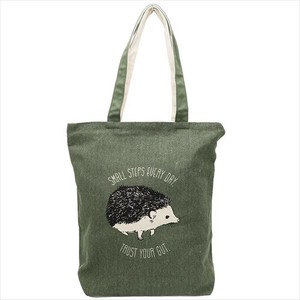Zipper Top Canvas Tote Hedgehog