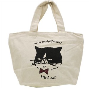 cat Zipper Top Canvas Tote Face