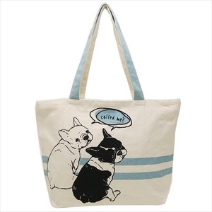 Hufuchan Zipper Top Horizontal Canvas Tote Friends