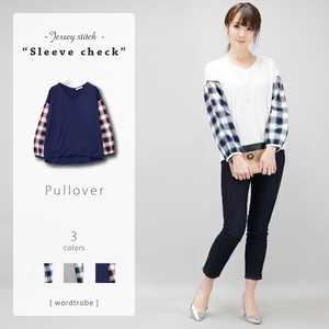 Jersey Stretch Checkered Fabric Pullover