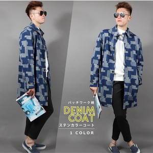 Denim Patchwork Stand-fall Collar Coat