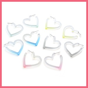 Clear Color Heart Pierced Earring