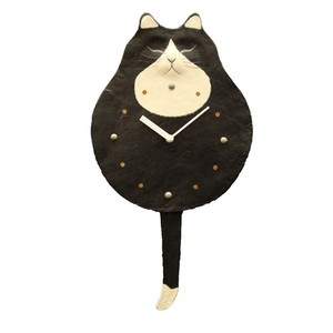 Clock/Watch Swing Black-And-White Japanese Paper Hand Maid Japanese Craft Cat Interior