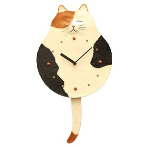 Clock/Watch Swing Mike Cat Japanese Paper Hand Maid Japanese Craft Interior