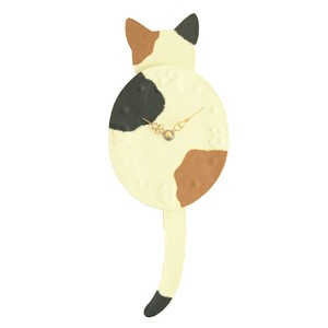 Clock/Watch Kitten Dance Mike Japanese Paper Hand Maid Japanese Craft Cat Interior