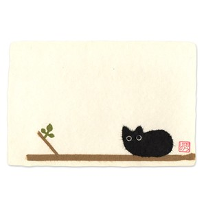 Message Card Banner Japanese Paper Hand Maid Japanese Craft Cat