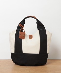 New Color Combi Canvas Leather Round Tote