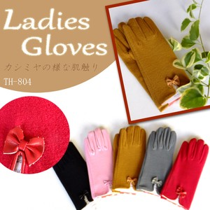 Cashmere One Point Ribbon Ladies Glove