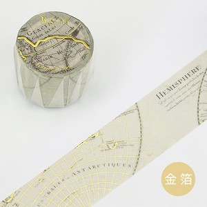[BGM] Washi Tape  / Masking Tape Gold Leaf Retro Melody World Map