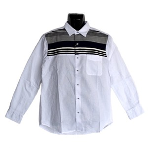 Panel Knitted Border Switching Long Sleeve Shirt