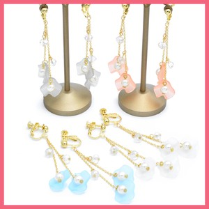 Pearl Clear Cut Beads Flower Earring
