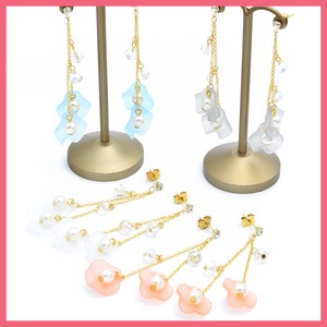 Pearl Clear Cut Beads Flower Pierced Earring
