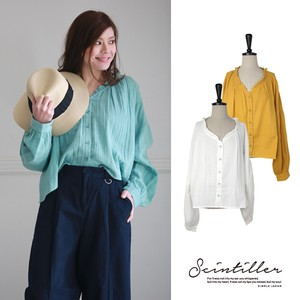 Double Gauze Long Blouse Pullover
