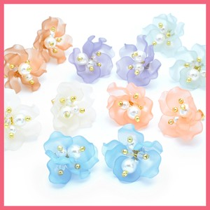 Pearl Beads Mat Color Flower Pierced Earring