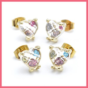 Bright Stone Jewel Clear Heart Pierced Earring