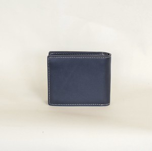 Cow Leather Leather Clamshell Wallet Business Men's Navy