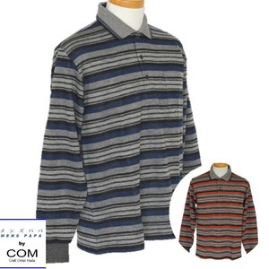 Men's Wool Polo Shirt A/W Border Polo Shirt 2 Colors