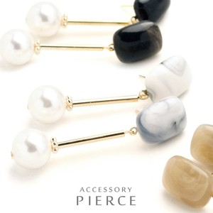 Pearl Marble Square Pierced Earring Play Plus