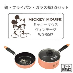 PEARL KINZOKU Disney Frying Pan Glass 3-unit Set Mickey Mouse Vintage