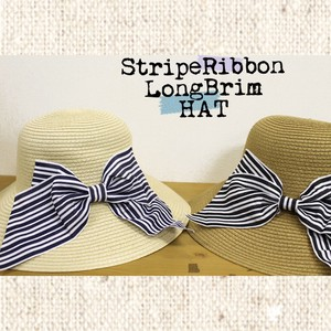 S/S Stripe Ribbon Broad-brimmed Hat