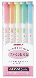 Mild liner Pen 5 color set Highlighter