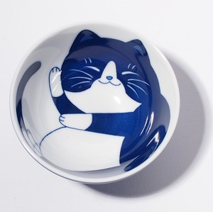 Japanese Rice Bowl Mino Ware Cat