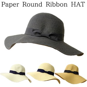S/S Paper Round Ribbon Hat
