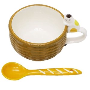 Life Basket Spoon Attached Soup Mug Mike Cat