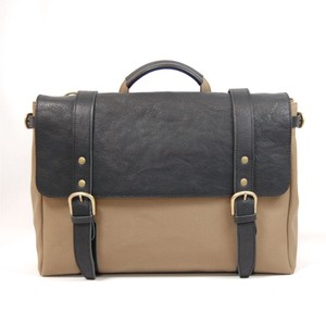 Canvas 3WAY Backpack Black Olive Leather