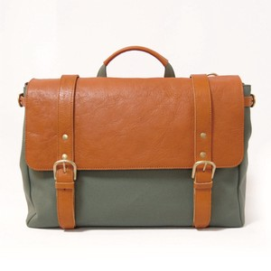 Canvas 3WAY Backpack Green Olive Leather