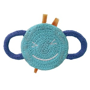 Love Pets Indian Cotton Winking Smiley Face Blue / 100% Indian Cotton Dental Chew Toy