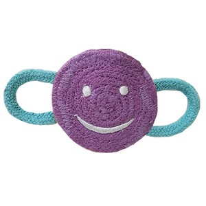 Love Pets Indian Cotton Winking Smiley Face Purple / 100% Indian Cotton Dental Chew Toy
