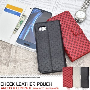 Smartphone Case SoftBank Checkered Pattern Design Stand Case Pouch