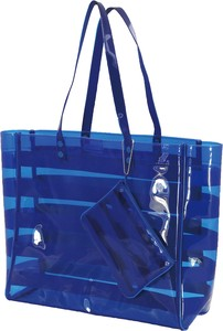 Blue Vinyl Tote Bag Pouch